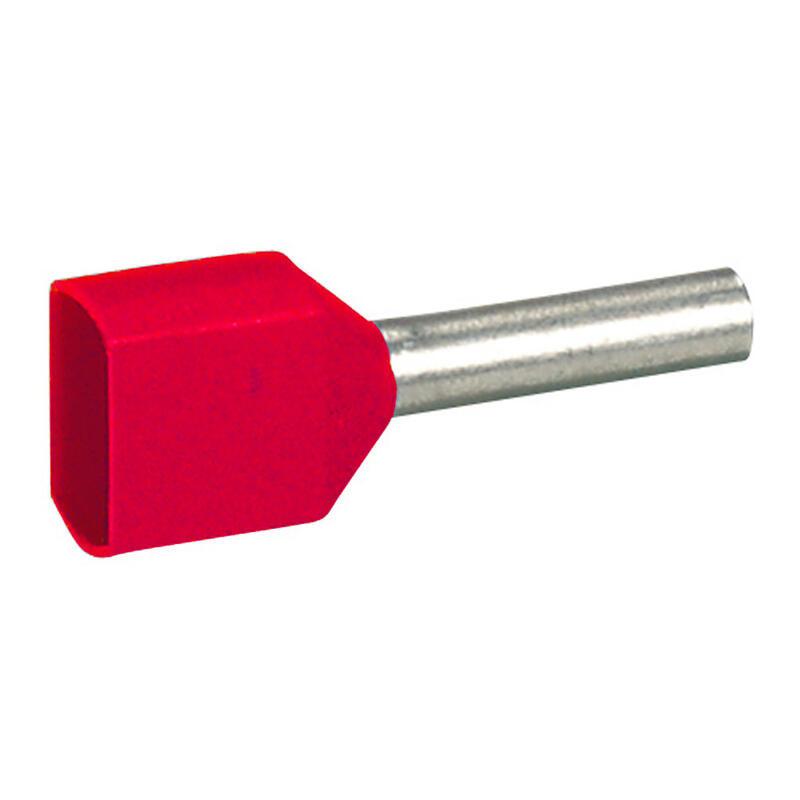 Embout de câblage à collerette isolante Starfix double unitaire pour conducteurs section 2x1mm² - rouge