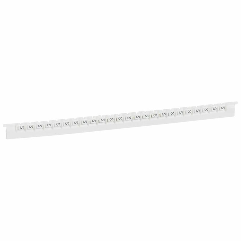Réglette de 24 repères Mémocab largeur 2,3mm avec lettre majuscule S noir sur fond blanc