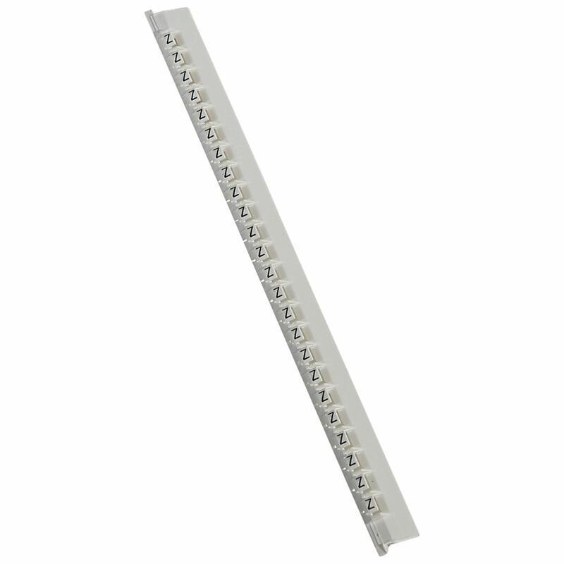 Réglette de 24 repères Mémocab largeur 2,3mm avec lettre majuscule Z noir sur fond blanc