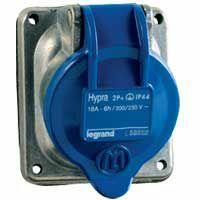 Prise fixe Hypra IP44 16A - 200V~ à 250V~ - 3P+T - métal