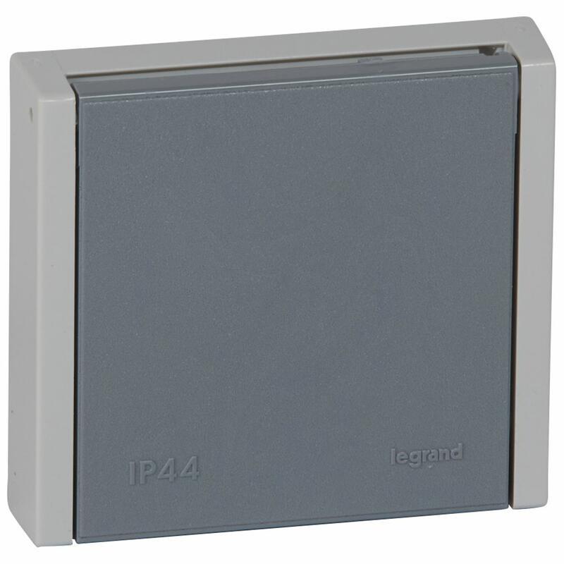 Prise de courant étanche 3P+N+T 20A à fixer sur boîte Ø67mm ou cadre saillie Plexo complet IP44 encastré - gris