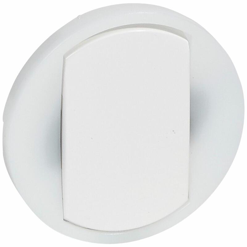 Enjoliveur large Céliane pour interrupteur , va-et-vient ou poussoir lumineux - Blanc