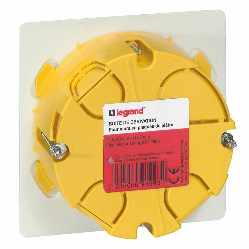 Boîte de dérivation pour plâtre - Ø85mm profondeur 40mm - avec plaque et vis