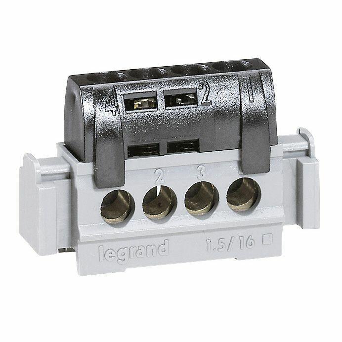 Bornier de phase - 4 bornes pour câble 1,5 à 16 mm² - noir
