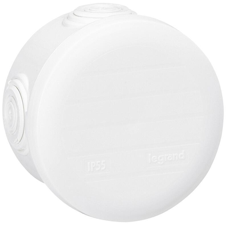 Boîte de dérivation ronde - Ø70 mm, ép. 45mm - fermeture par enclipsage - blanc