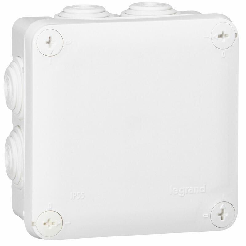 Boîte de dérivation carrée - 105x105x55 mm - fermeture par 1/4 de tour - blanc