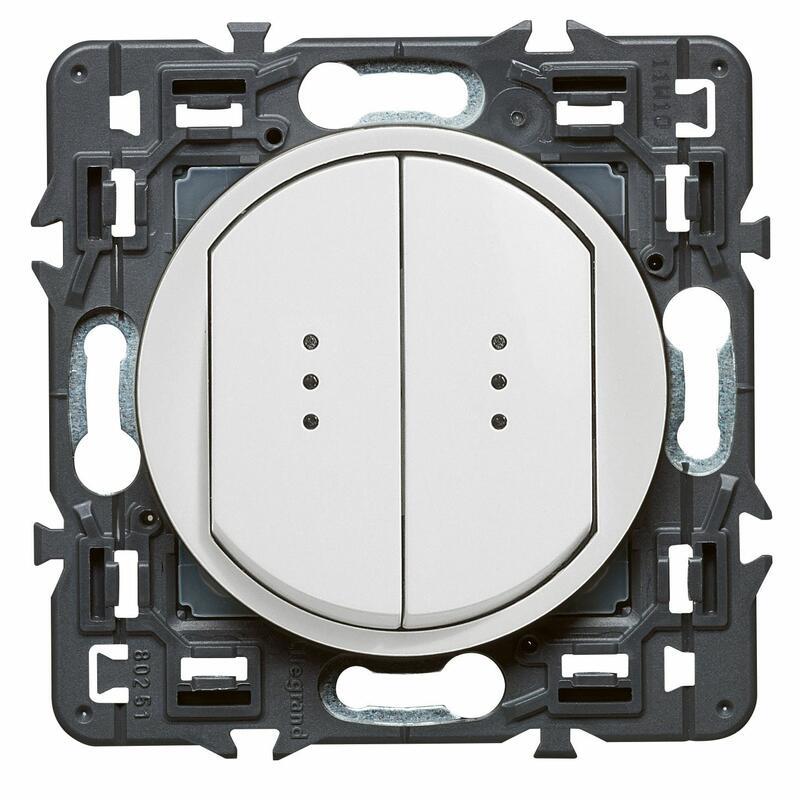 Double interrupteur ou va-et-vient lumineux (voyant fourni) Céliane Soft - Blanc