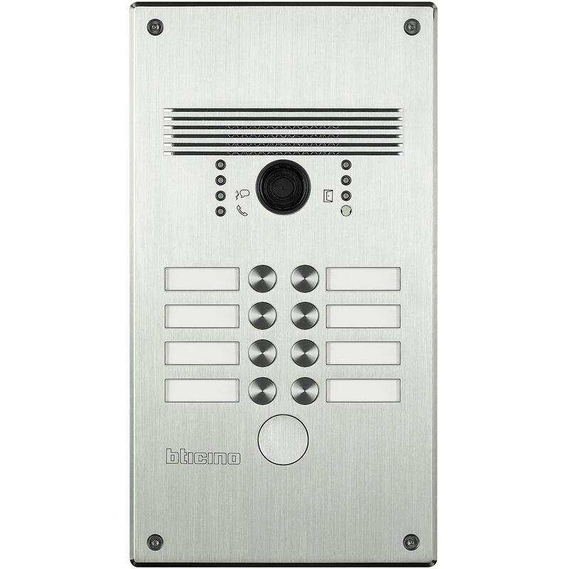 Platines monobloc antivandales à bouton poussoir Linea 300 pour 5 à 8 appels façade Alu