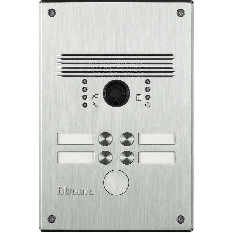 Platines monobloc antivandales à bouton poussoir Linea 300 pour 2 à 4 appels façade Inox