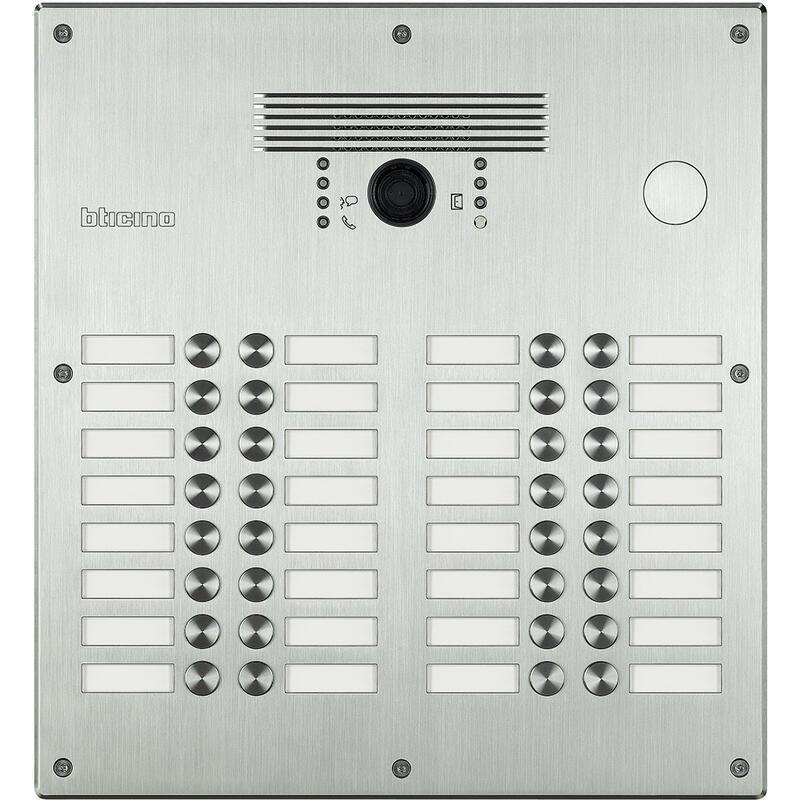 Platines monobloc antivandales à bouton poussoir Linea 300 pour 21 à 32 appels façade Inox