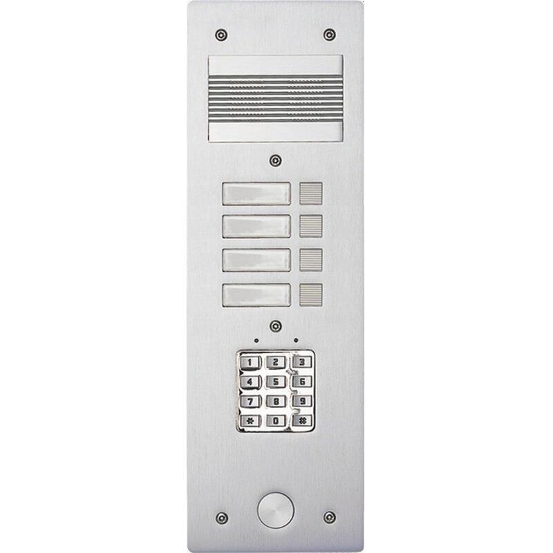 Platine de rue Série 200 audio étroite avec clavier codé façade Alu 4mm 4 appels