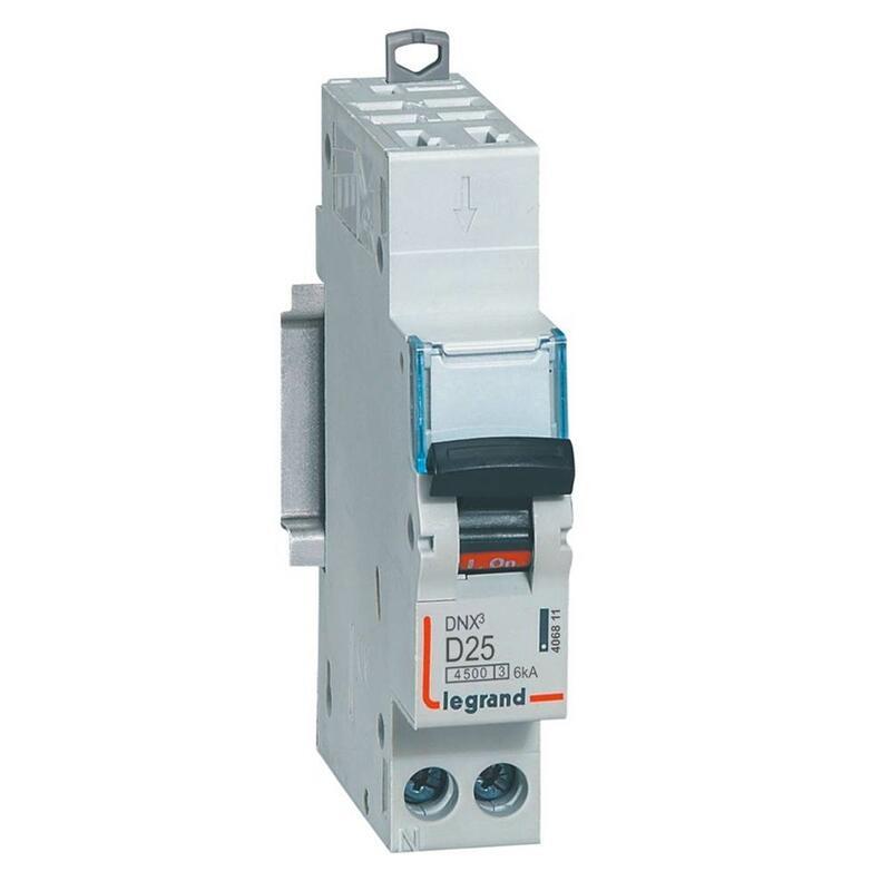 Disjoncteur Phase+Neutre DNX³4500 6kA arrivée et sortie borne automatique - 1P+N 230V~ 25A courbe D - 1 module