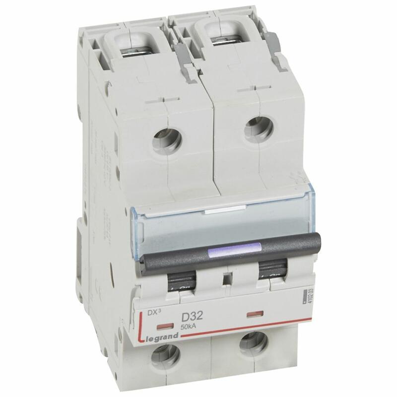Disjoncteur DX³ 50kA arrivée haute et départ bas à vis 2P 230V~ à 400V~ - 32A - courbe D - 3 modules