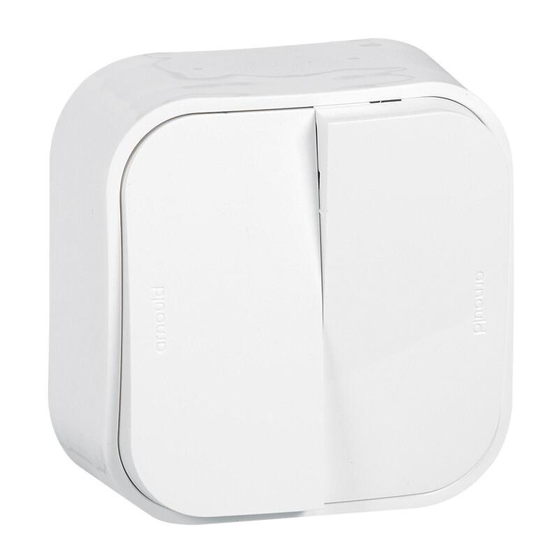 Double interrupteur ou va-et-vient saillie Profil Eco - Blanc