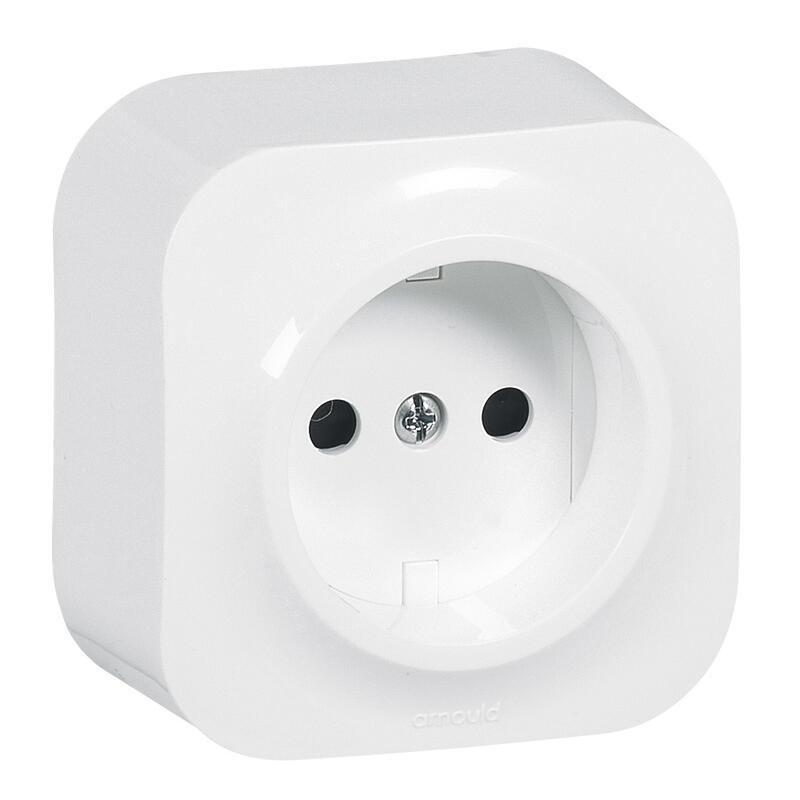 Prise de courant sans terre saillie Profil Eco - Blanc