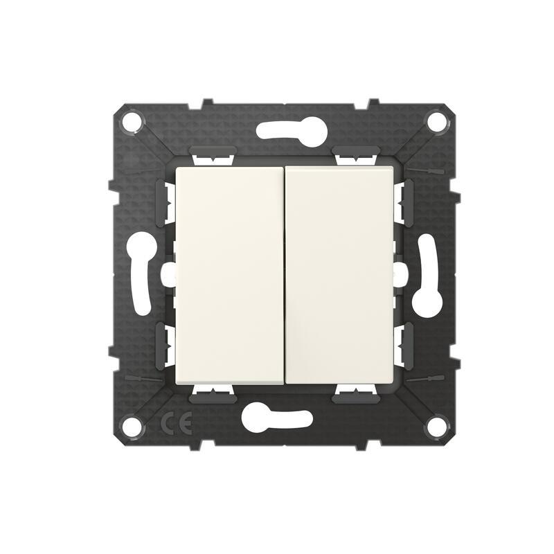 Poussoir 6A + Interrupteur ou va-et-vient Altège 10A avec connexion à bornes automatiques - finition Neige