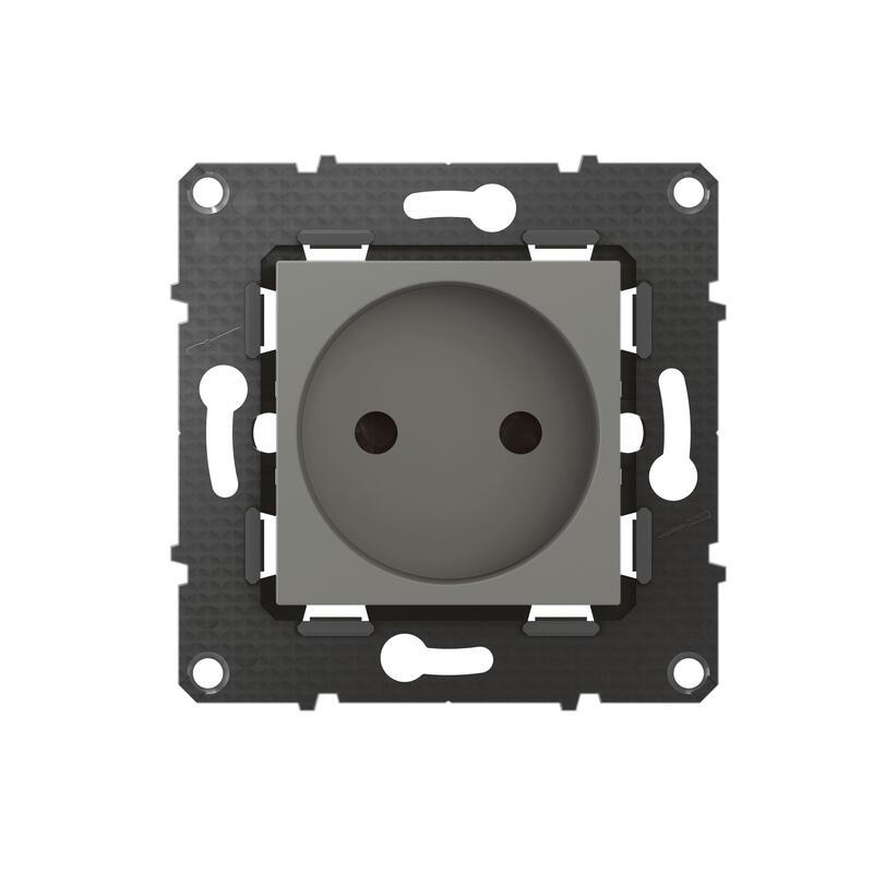 Prise de courant sans terre Altège 16A avec connexion à bornes automatiques - finition Nuage
