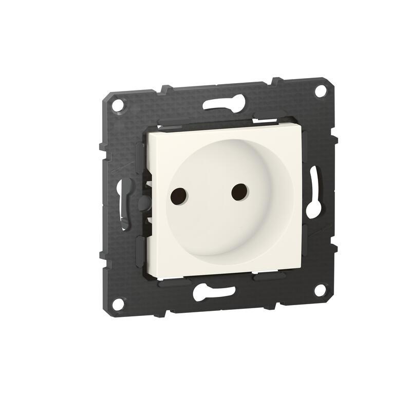 Prise de courant sans terre Altège 16A avec connexion à bornes automatiques - finition Neige