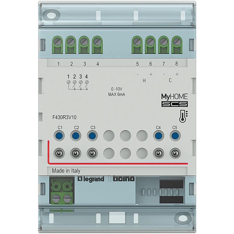 Actionneur modulaire 3 relais indépendants et 2 sorties 0V à 10V MyHOME_Up - 4 modules