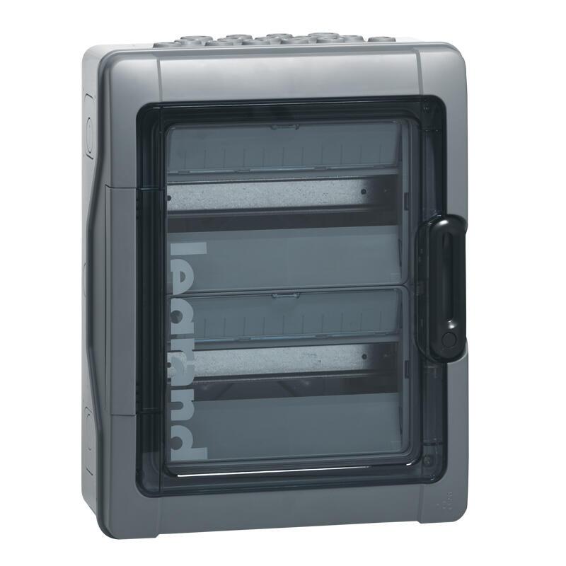 Coffret étanche Plexo³ 2x12 modules avec embouts à perforation directe prémontés IP65 IK09 - Gris