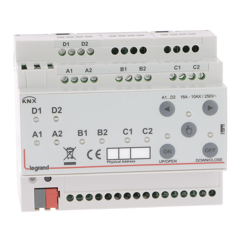 Contrôleur modulaire ON/OFF multi-applications KNX - raccordement multiphases 8 sorties 16A - 6 modules