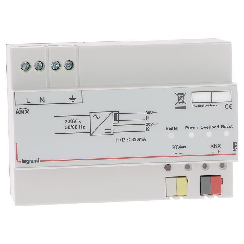Alimentation modulaire BUS KNX 150V~ à 275V~ - 30V= - 320mA - 7 modules