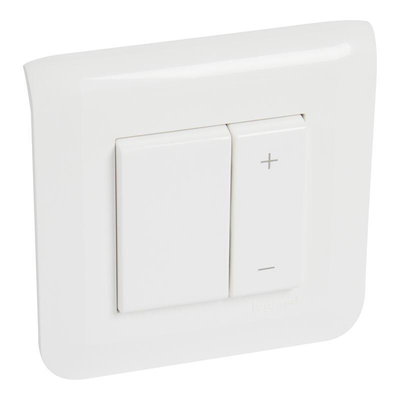 Interrupteur variateur toutes lampes 2 fils Mosaic 2 modules - complet blanc