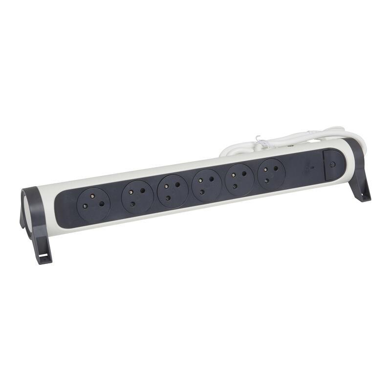 Rallonge multiprise rotatif avec 6 prises de courant Surface , disjoncteur et indicateur de charge - blanc et gris foncé