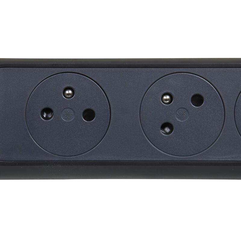 Rallonge multiprise bloc rotatif 3x2P+T Surface , interrupteur et cordon 1,5m - noir et gris foncé