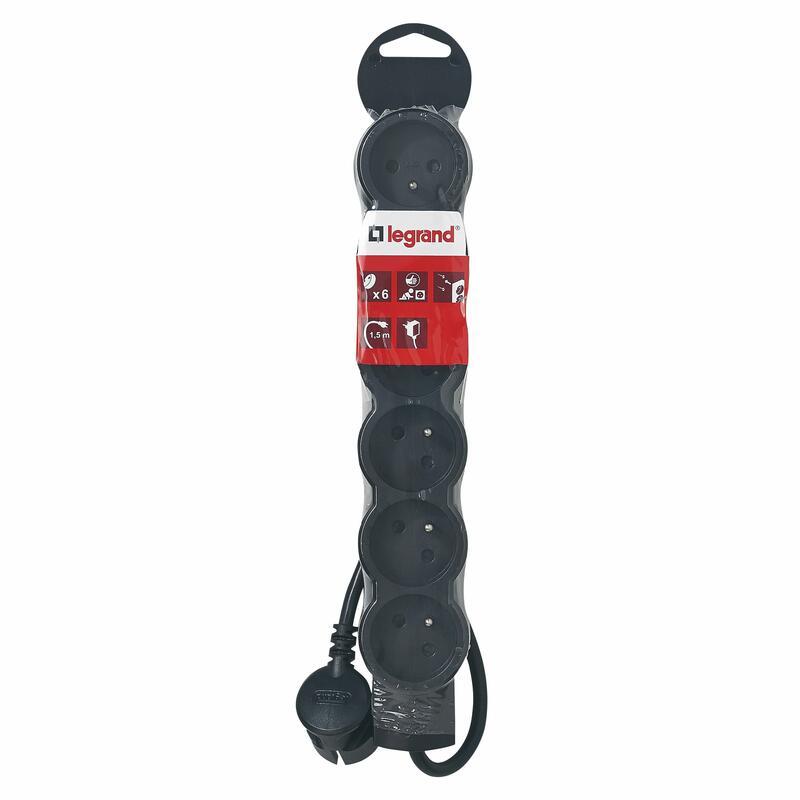 Rallonge 6 prises de courant - avec cordon 1,5m - Noir