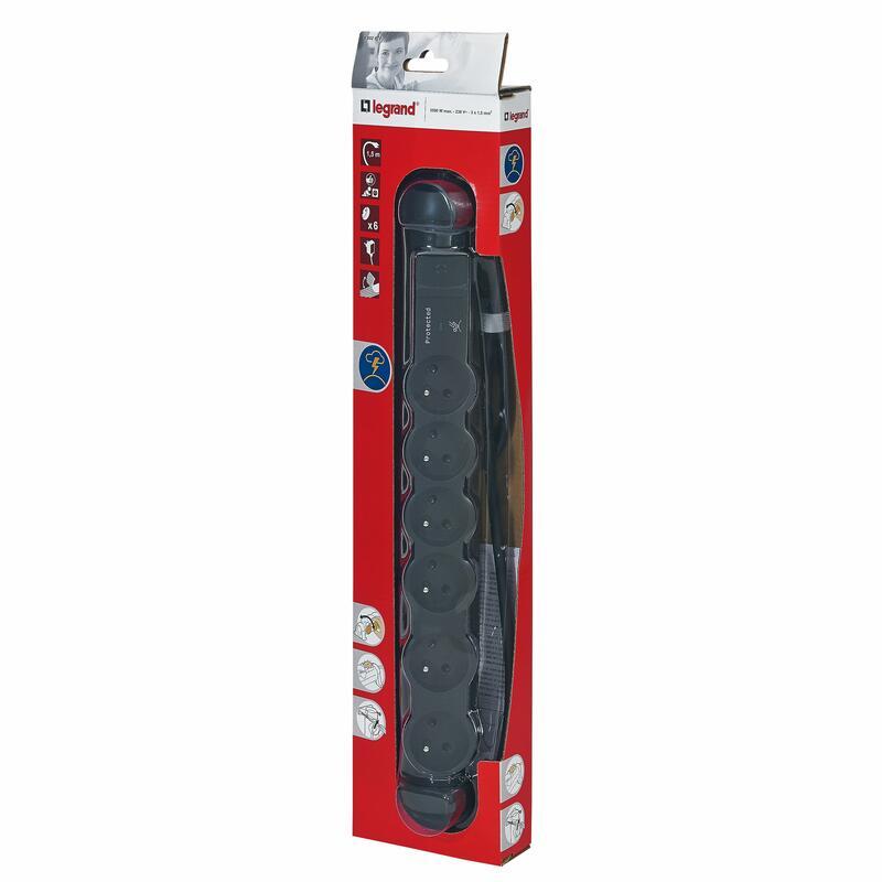 Rallonge multiprise 6 prises de courant 2P+T 16A 230V avec parafoudre - noir