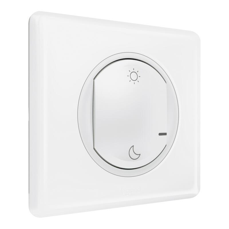 Commande Lever/Coucher pour installation connectée Céliane with Netatmo avec plaque Laqué Blanc