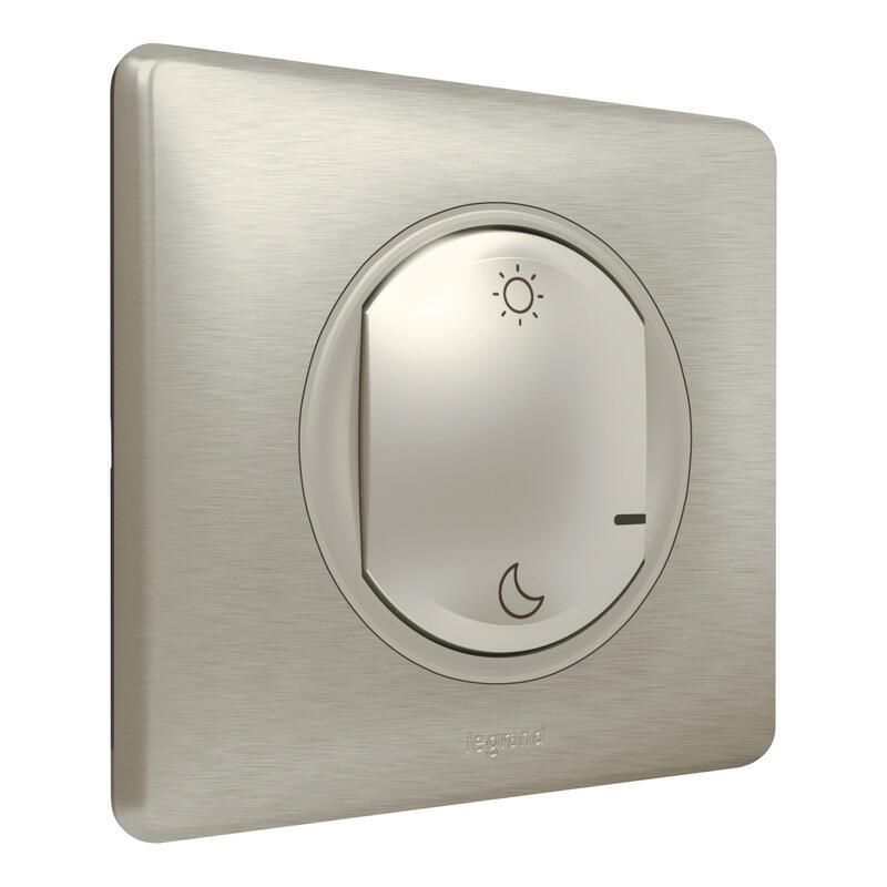 Commande Lever/Coucher pour installation connectée Céliane with Netatmo avec plaque Métal Titane
