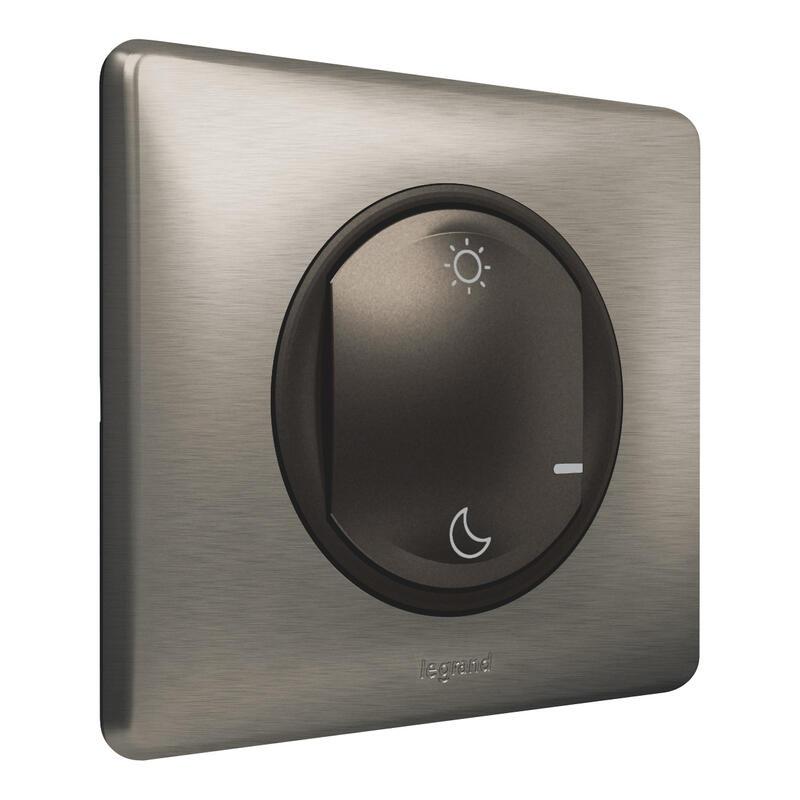Commande Lever/Coucher pour installation connectée Céliane with Netatmo avec plaque Métal Tungstène