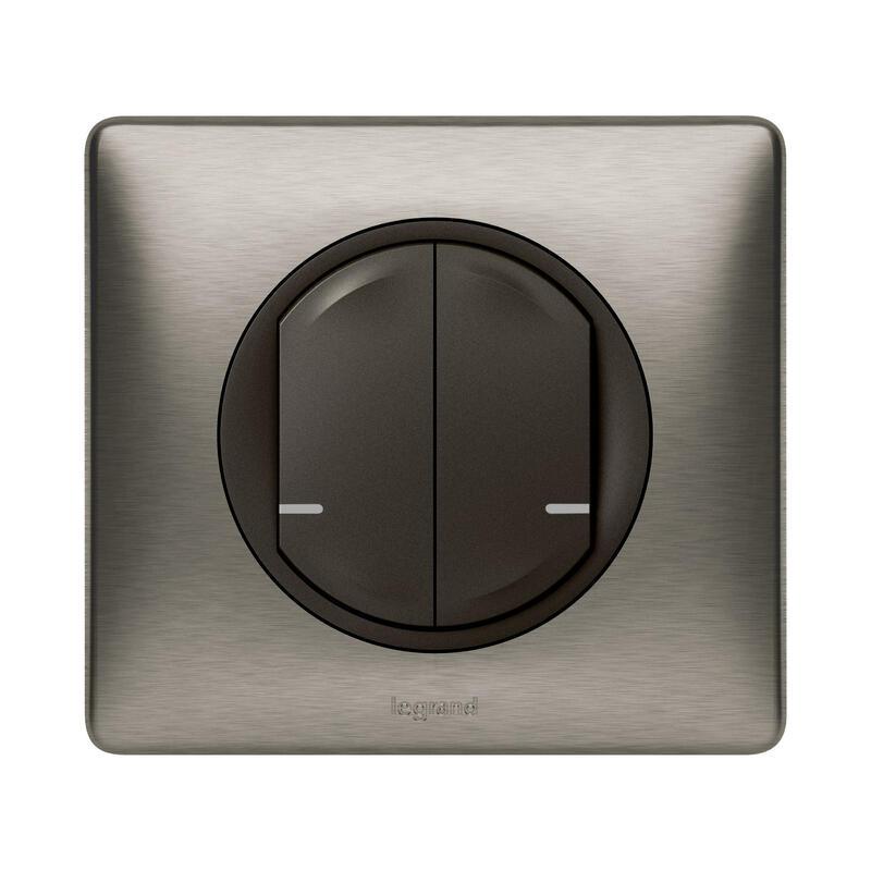 Interrupteur double sans fil pour installation connectée Céliane with Netatmo avec plaque Métal Tungstène