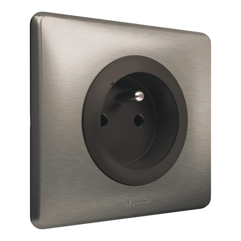 Prise de courant 16A pour installation connectée Céliane with Netatmo avec plaque Métal Tungstène