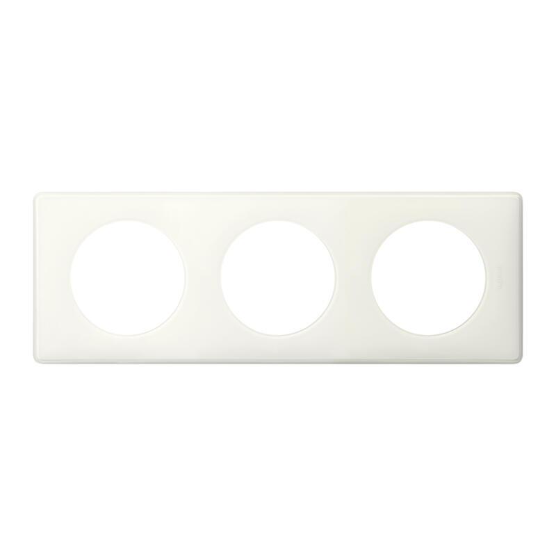 Plaque Céliane Laqué 3 postes - finition Blanc