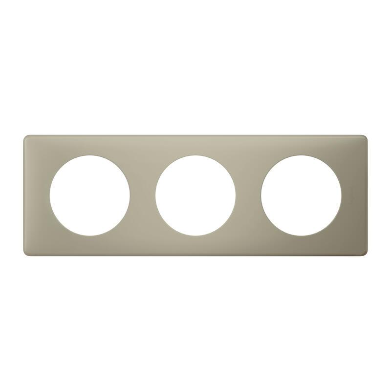 Plaque Céliane Poudré 3 postes - finition Argile