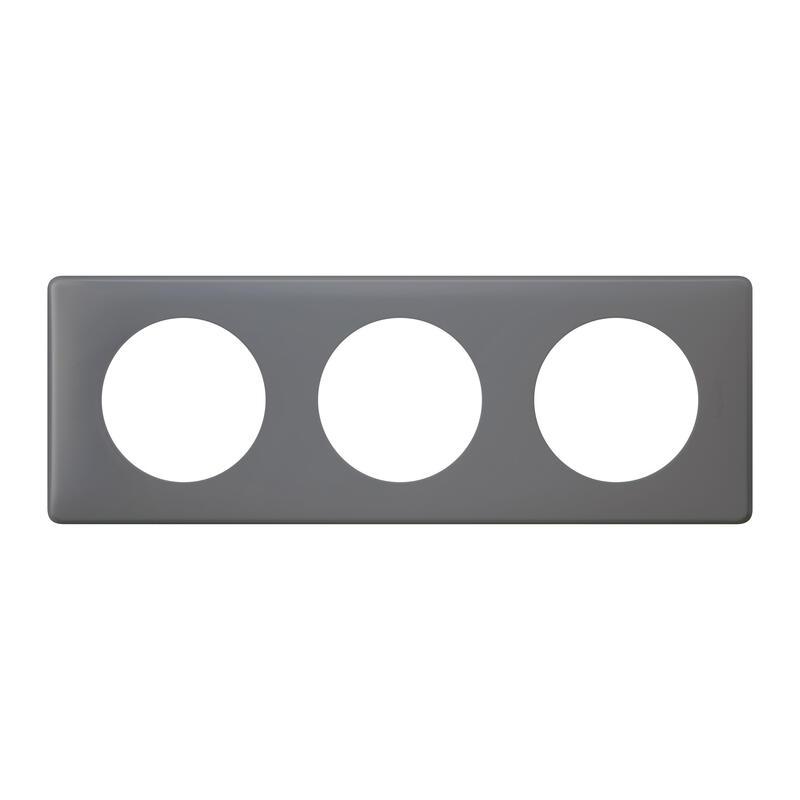 Plaque Céliane Poudré 3 postes - finition Schiste