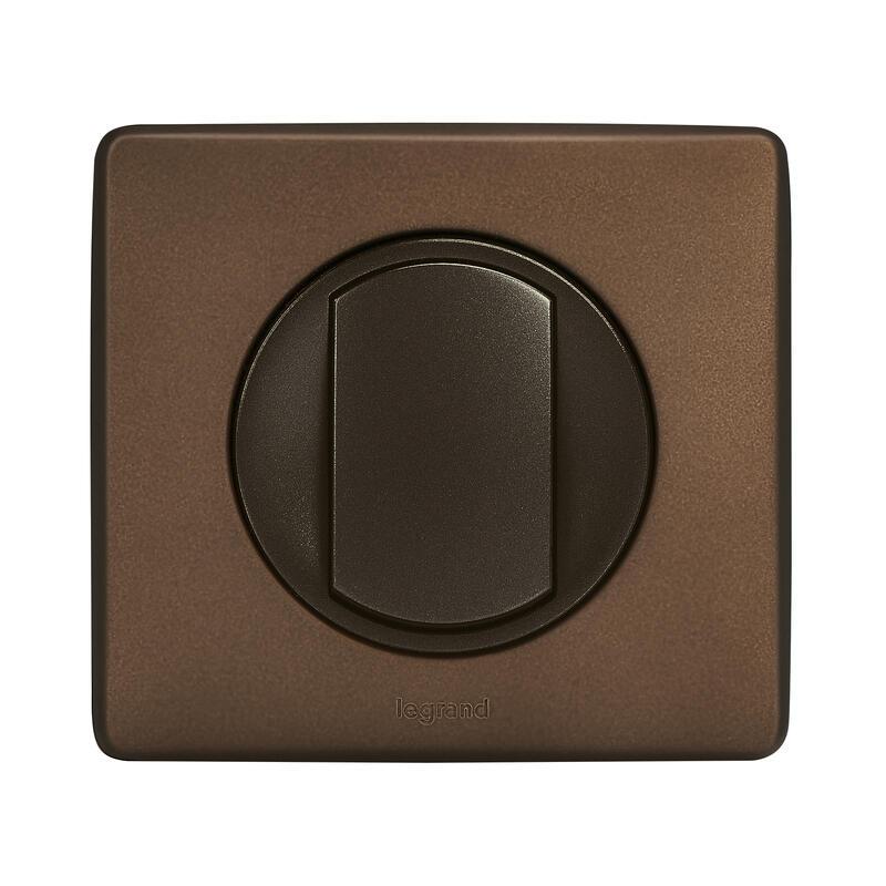 Plaque Céliane Métal 1 poste - finition Alu Chocolat