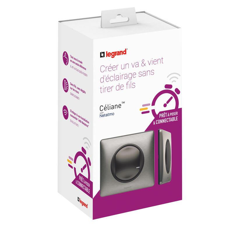 Prêt-à-poser Céliane créer un va-et-vient avec 1 commande sans fil et 1 interrupteur 230V~ livré complet graphite