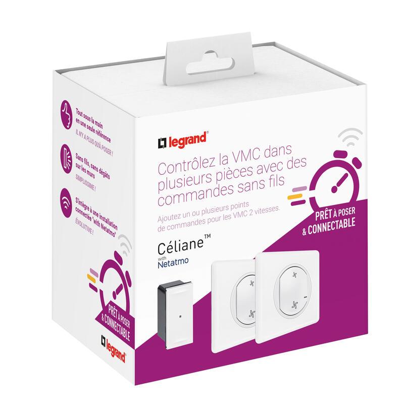 Prêt-à-poser Céliane ajouter une commande VMC avec 1 commande sans fil et 1 micromodule livré complet blanc
