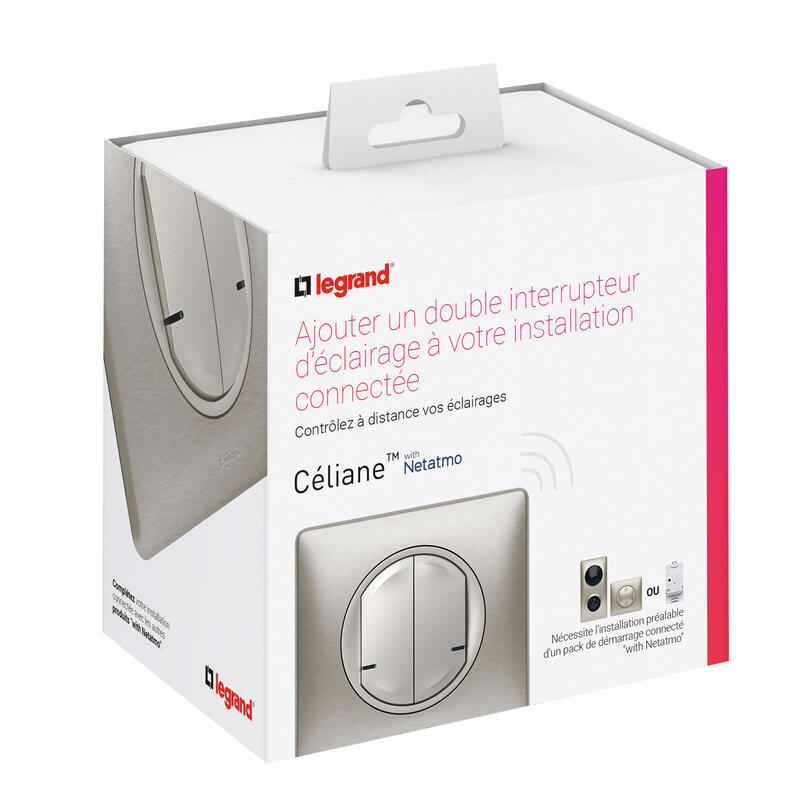 Interrupteur double sans fil pour installation connectée Céliane with Netatmo avec plaque Métal Titane