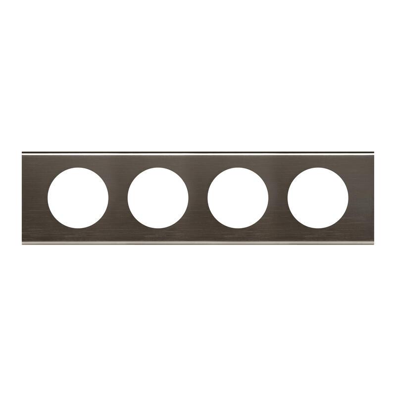 Plaque de finition Céliane - Matière Black Nickel - 4 postes