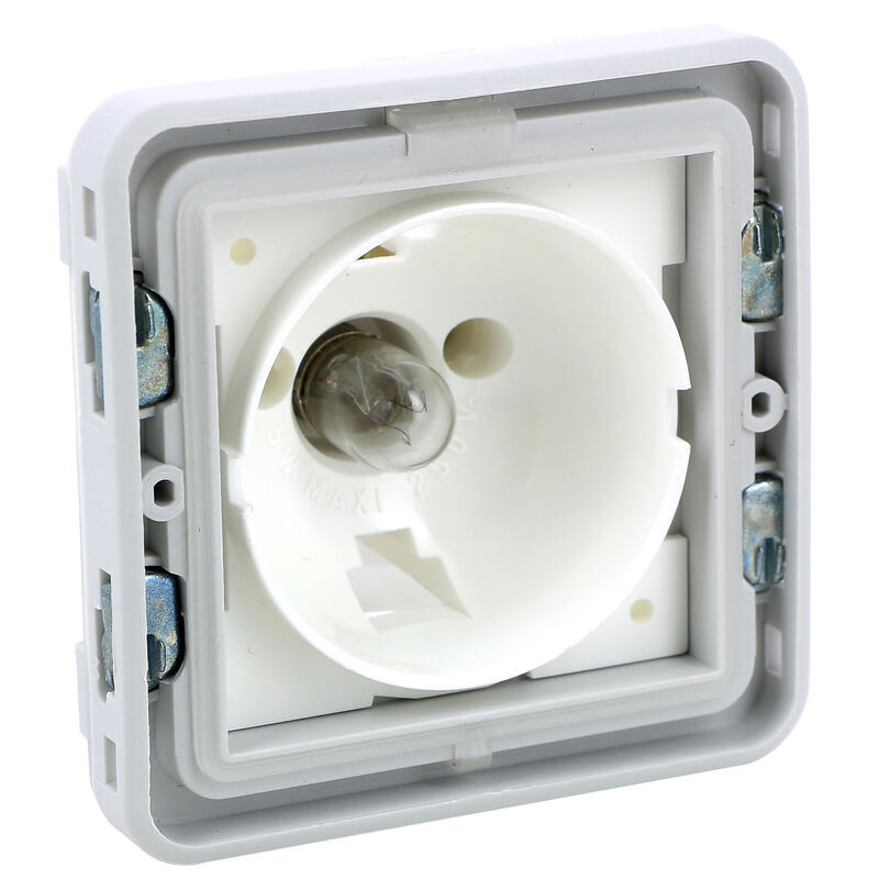 Socle étanche avec voyant Plexo composable IP55 - gris et blanc