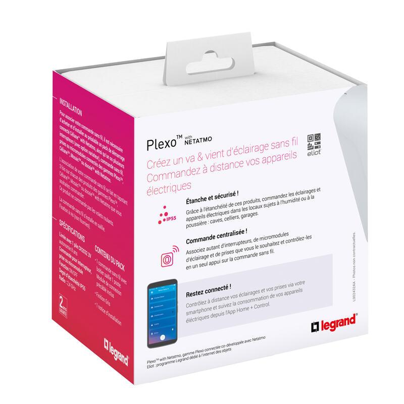 Commande sans fil étanche Plexo with Netatmo pour éclairage ou prise connectée ou micromodule - complet saillie gris