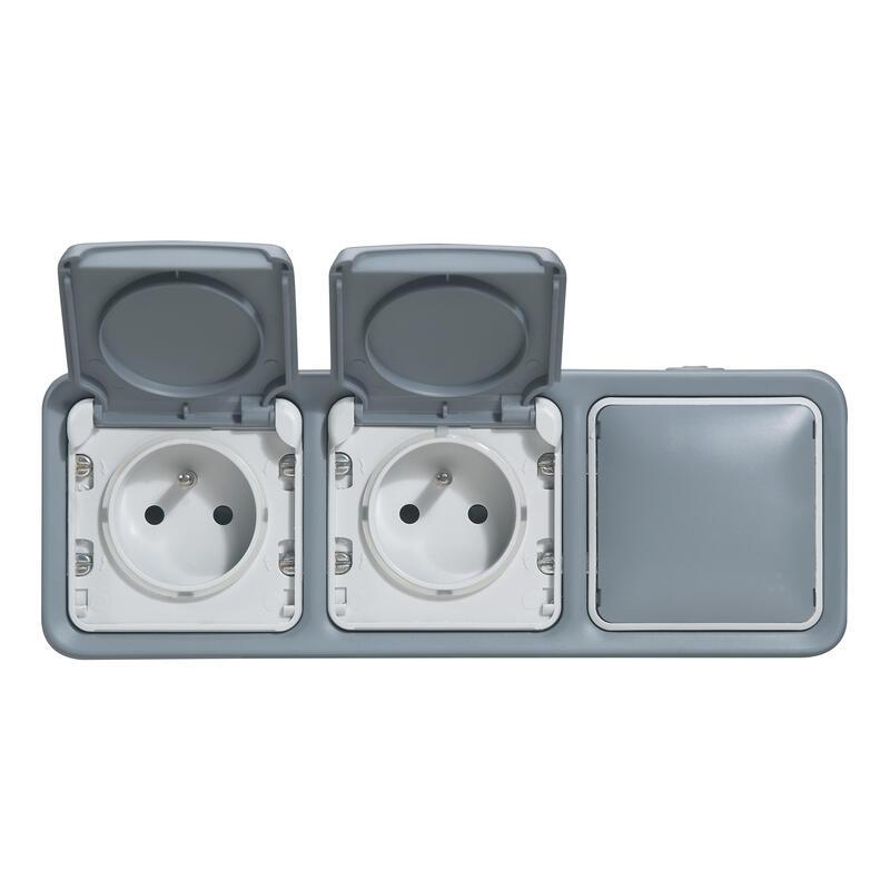 Double prise de courant + obturateur Plexo complet apparent - Gris