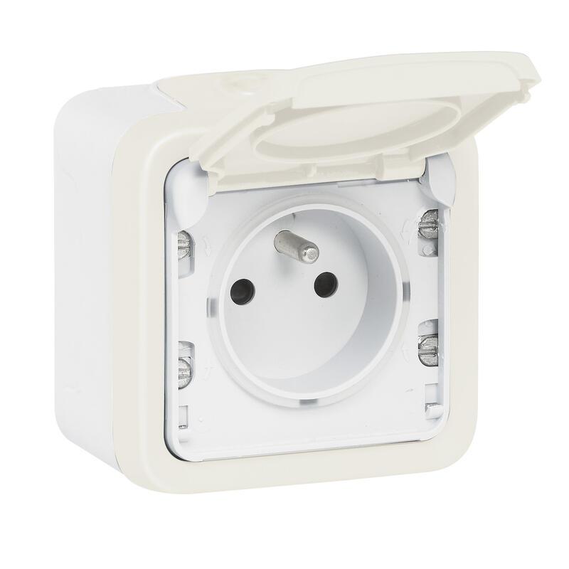 Prise de courant et volet de protection IP55 Plexo complet apparent - Blanc