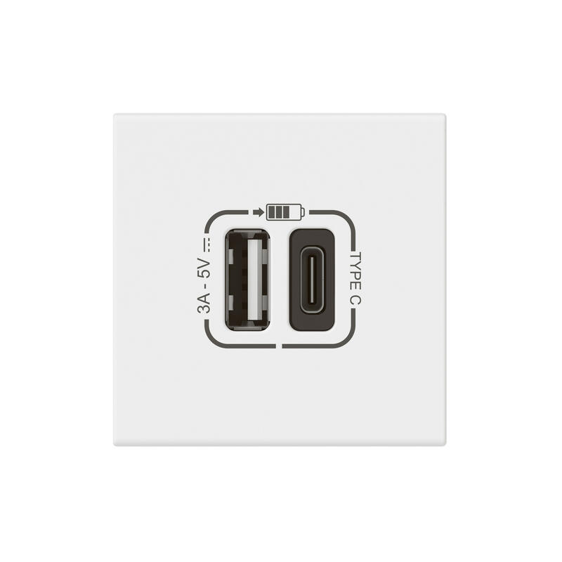 Chargeur prise USB Type-A + USB Type-C 3A 5V= 15W Mosaic Link raccordement latéral 2 modules 230V - blanc