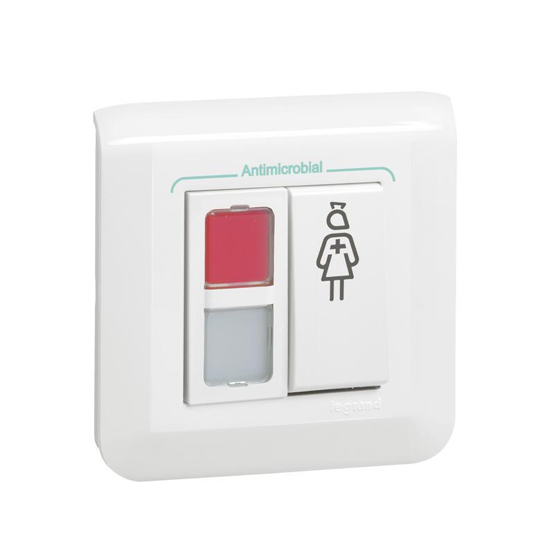Bloc de porte Mosaic avec 1 voyant rouge , 1 blanc et 1 poussoir d'effacement d'appel et de présence infirmière